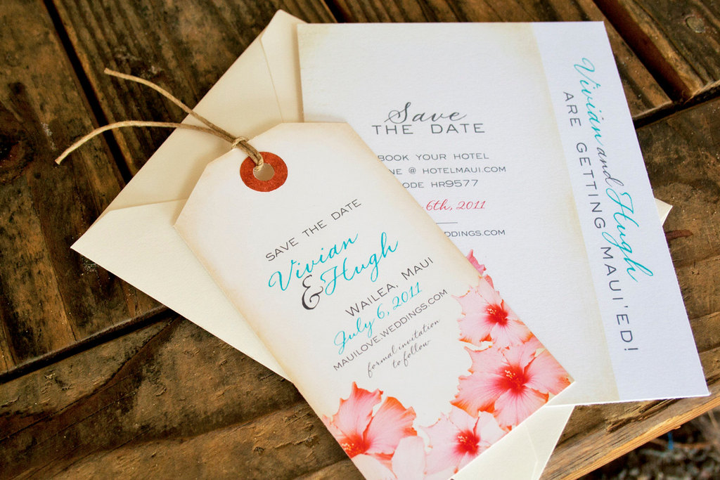 Vintage-luggage-tag-wedding-save-the-dates-with-pink-floral-design.full