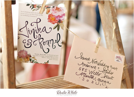 Romantic floral collage wedding invitation