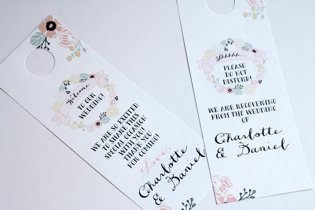 Vintage-pastel-floral-with-black-writing-wedding-door-hangers.full