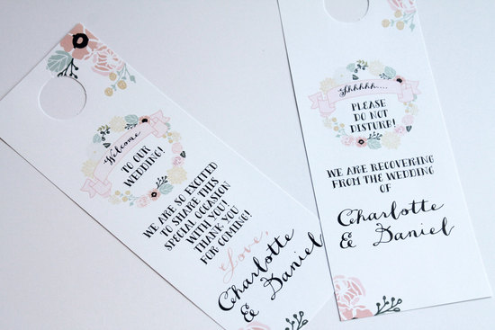 Vintage pastel floral with black writing wedding door hangers