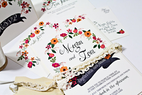 handpainted floral wedding invitation suite