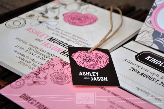 Rustic floral wedding invites in pink black and beige