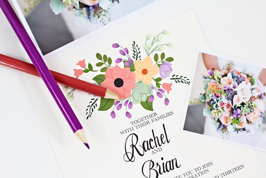 Custom floral wedding invitations summer pastels