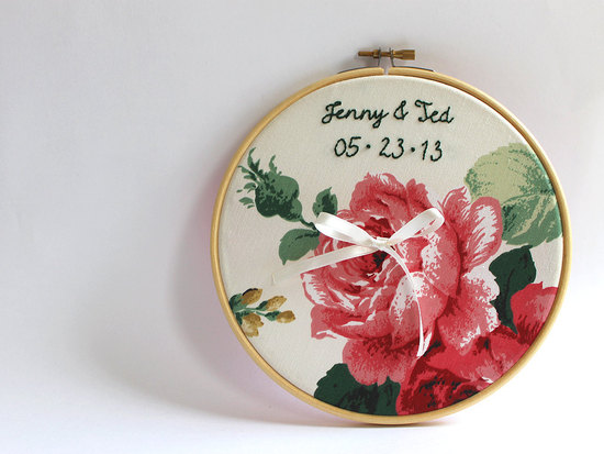 floral ring bearer hoop with custom embroidery