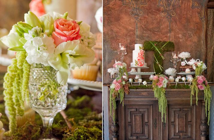 Green Wedding Flowers Centerpieces : Pink ivory green wedding flowers reception centerpieces