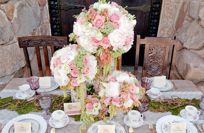 Pink green whie wedding flowers outdoor wedding reception mightylinksfo