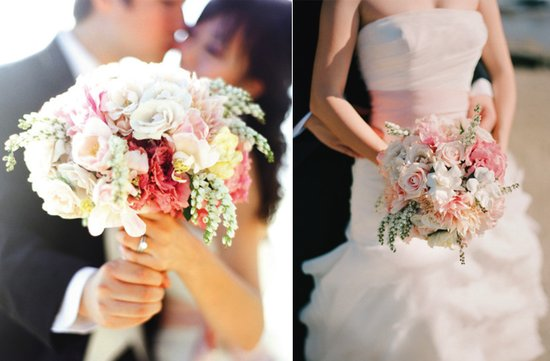 romantic wedding flowers bridal bouquet bride groom kiss