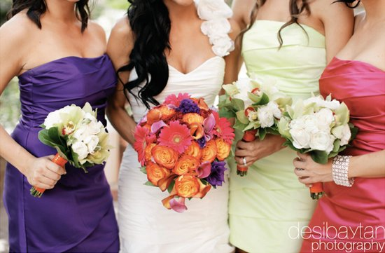 mix match bridesmaids dresses colorful wedding flowers