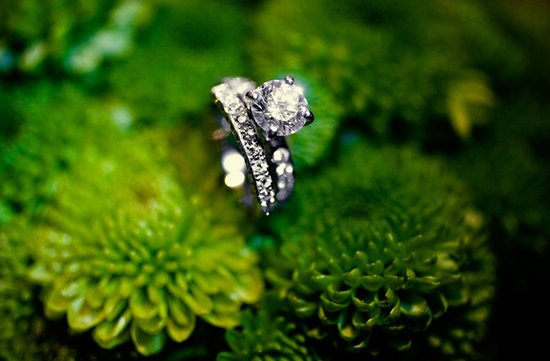 classic round engagement ring green wedding flowers