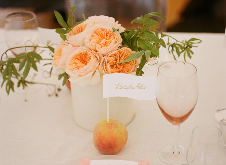 pastel peach garden rose wedding bouquet with lambs ear