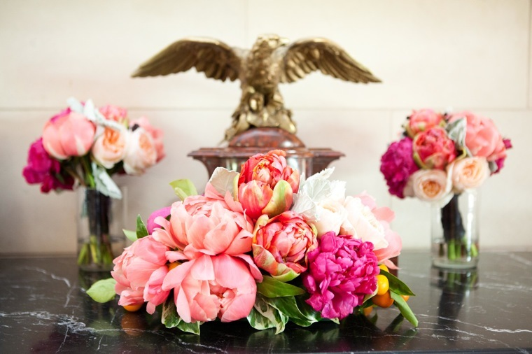Coral peonies and juliet roses bouquets