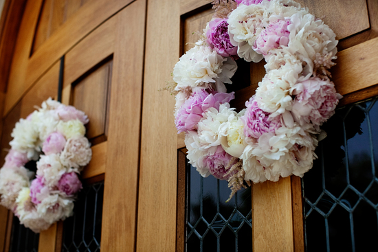romantic wedding wreaths of pink and ivory peonies