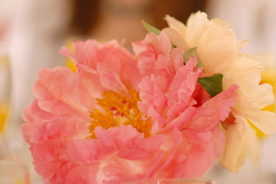 romantic coral pink peony wedding centerpiece