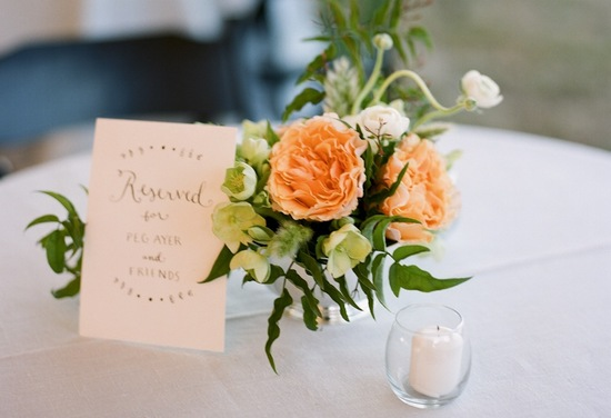 peach garden roses romantic wedding centerpiece
