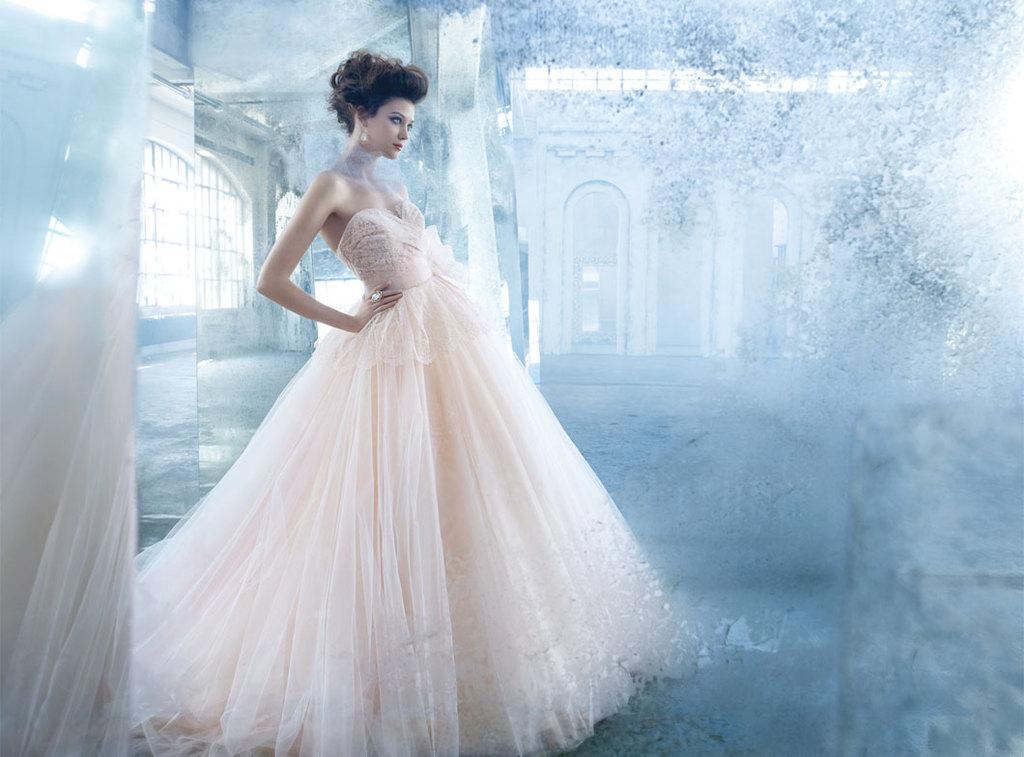 Dreamy peach wedding dress from Lazaro Bridal Spring 2013