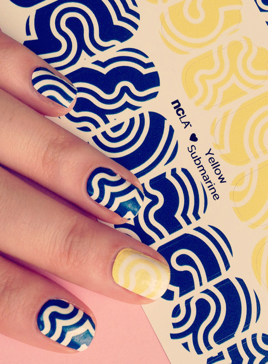 Yellow Submarine bridal nail wraps