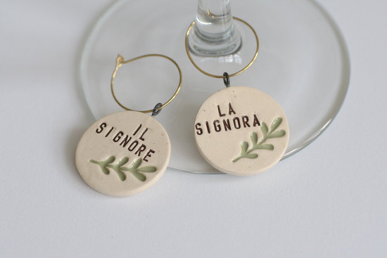 Italian wedding ideas reception wine charms