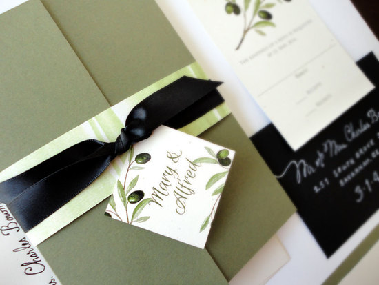 Tuscan olive wedding invitations