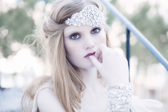 Crystal encrusted bridal bandeau head chic