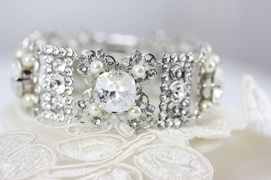 Rhinestone and pearl vintage inspired bridal cuff