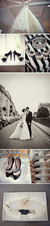 Elegant-black-white-real-wedding-black-wedding-shoes-vera-wang-bridal-gown.full