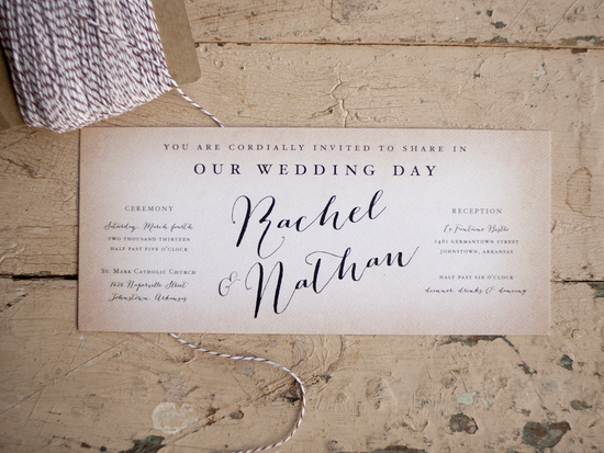 Rustic Wedding Invitation with Cursive