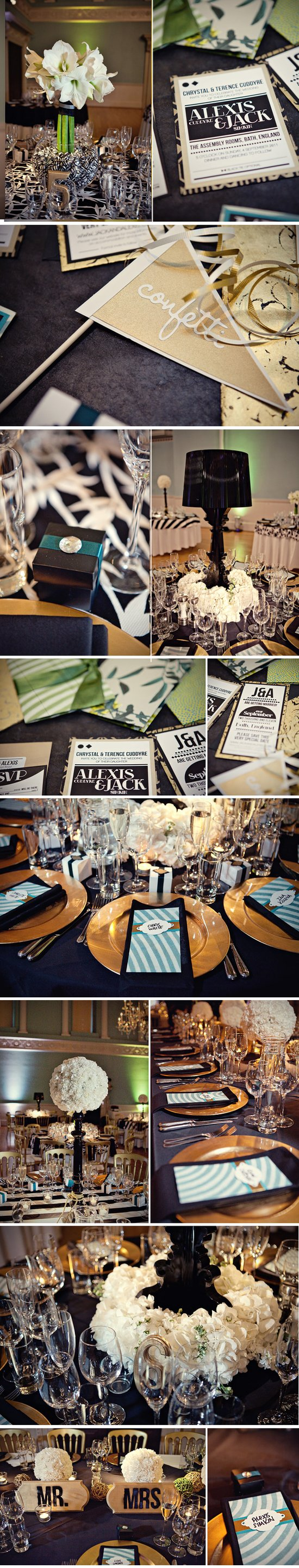 black white wedding pops of teal gold elegant real weddings