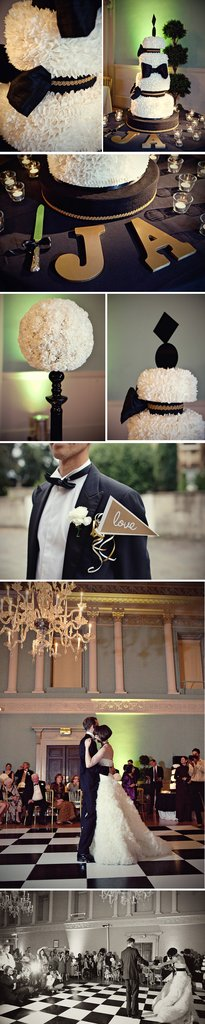 photo of Black + White Wedding with Bold/Gold Pops