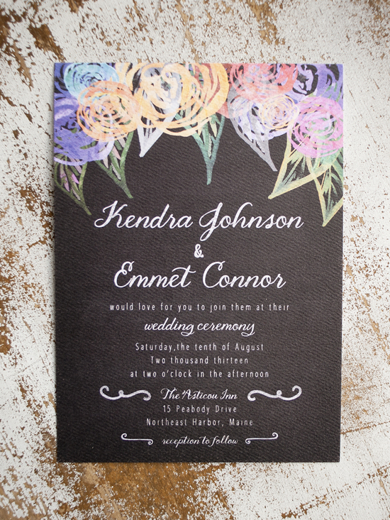 Black and Color Chalkboard Wedding Invitations