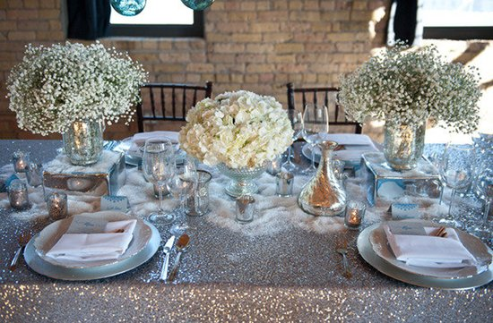 white wedding flowers centerpieces silver decor