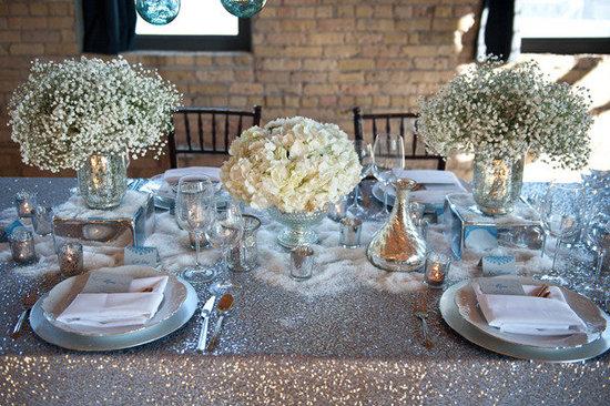 photo of white wedding flowers winter wedding centerpieces