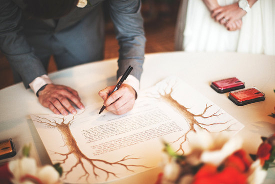 Jewish weddings signing of the Ketubah