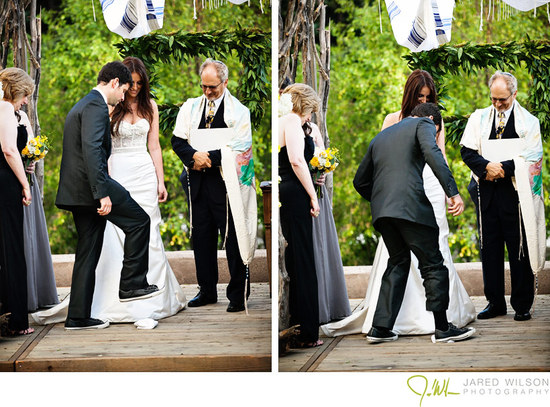 Outdoor Jewish wedding ceremony breaking of the glass