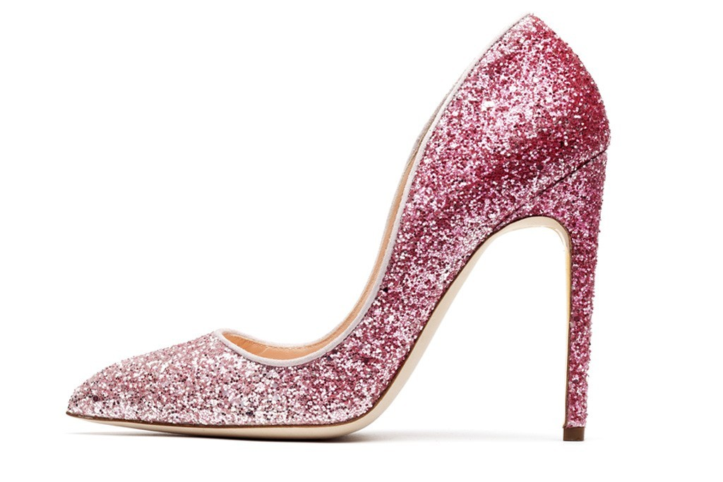 pink ombre glittery wedding shoes