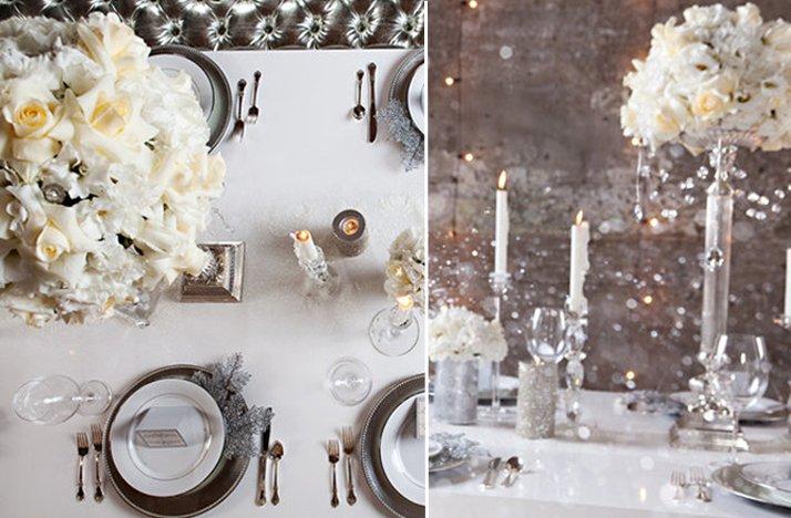White Wedding Reception Topiary Winter Wedding