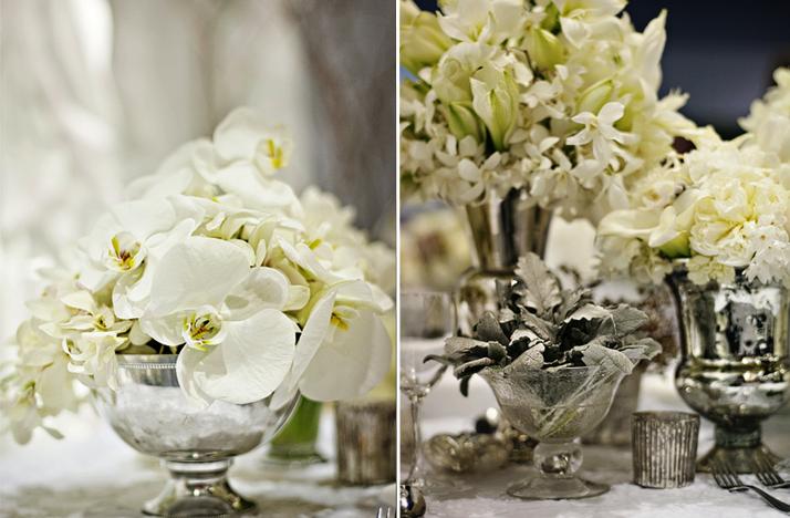 White wedding flowers winter reception