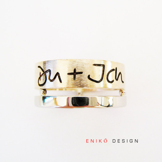 Engraved names wedding band