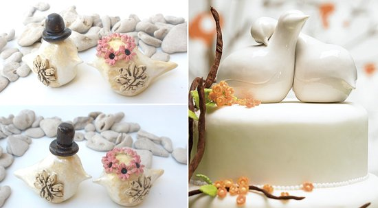 photo of Splurge or Save: Modern, Sculptural Ceramic Love Bird Wedding Cake Toppers