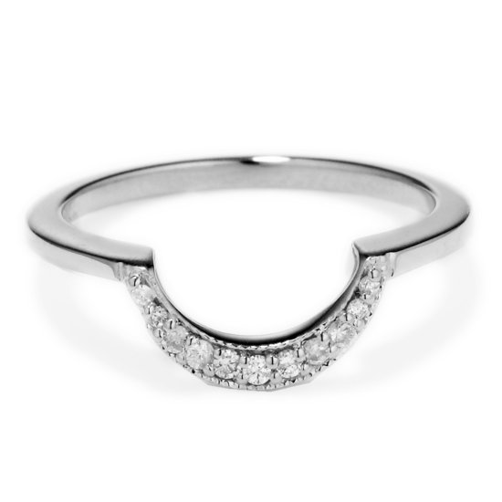 Diamond and Platinum shadow band wedding ring