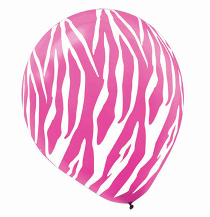 balloons zebra pink and white