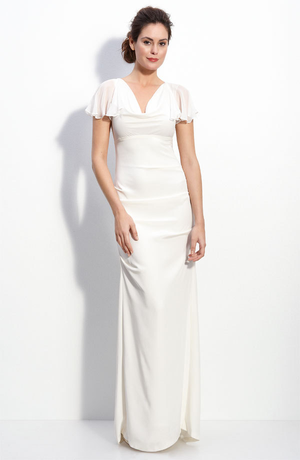 Flutter sleeve wedding dress nordstrom for Nicole miller wedding dresses nordstrom