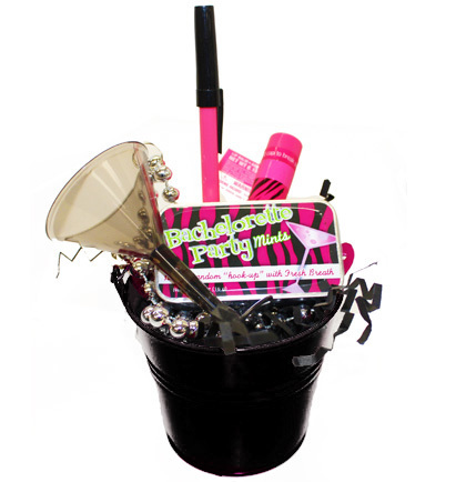 Gift Basket Bachelorette Favor Bucket bachelorette party with black bucket