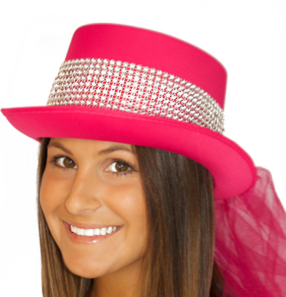 Hat Top Hat Diamond Glam Hot Pink2
