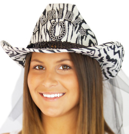 Hat western zebra with horseshoe on model