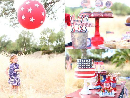 4th of July wedding decor and cake