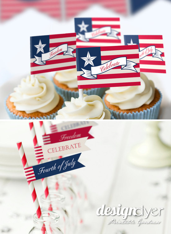Celebrate 4th of July wedding cupcake toppers