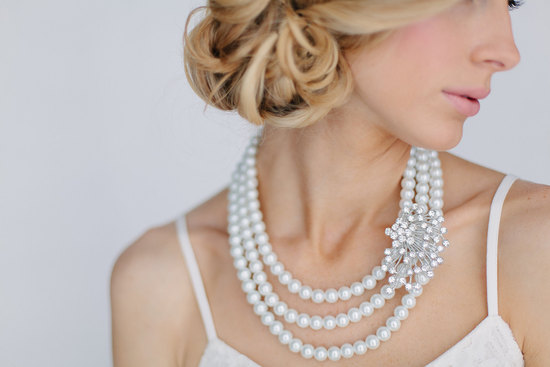 Pearl bridal necklace with crystal accent