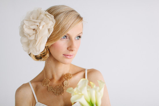 Oversized chiffon wedding hair flower