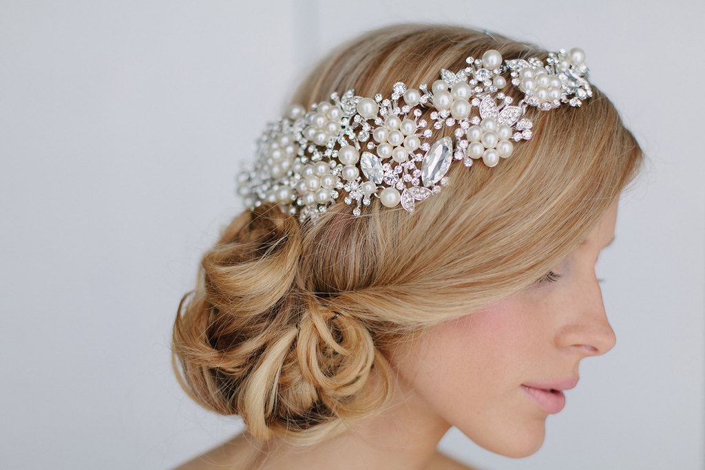 crystal and pearl wedding head piece