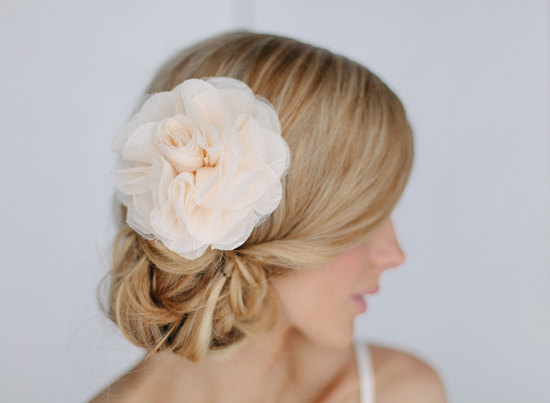Pastel peach chiffon wedding hair flower